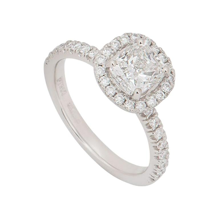 GIA Certified Platinum Cushion Cut Halo Diamond Engagement Ring 1.00ct H/VS1