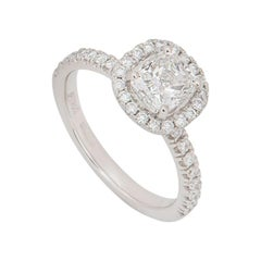 GIA Certified Platinum Cushion Cut Halo Diamond Engagement Ring 1.00ct H/VS1