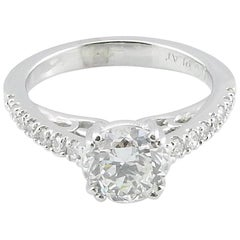 GIA Certified Platinum Diamond Engagement Ring