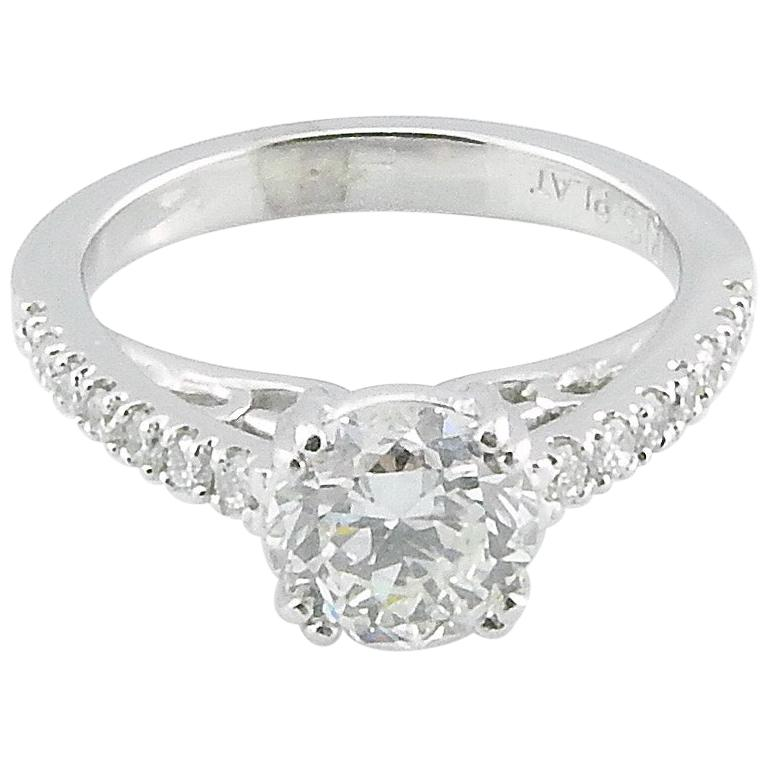 GIA Certified Platinum Diamond Engagement Ring For Sale