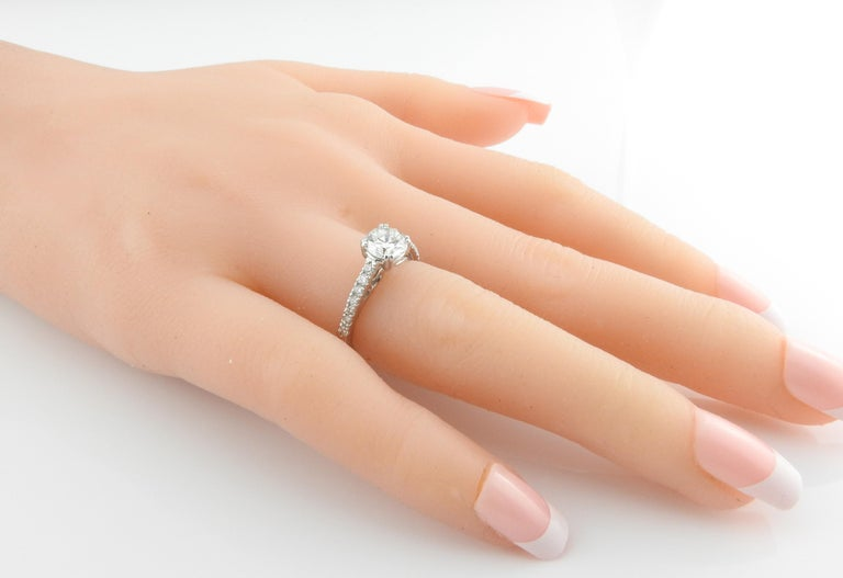 GIA Certified Platinum Diamond Engagement Ring For Sale 6