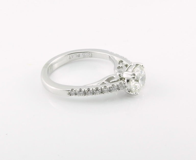 Women's or Men's GIA Certified Platinum Diamond Engagement Ring For Sale