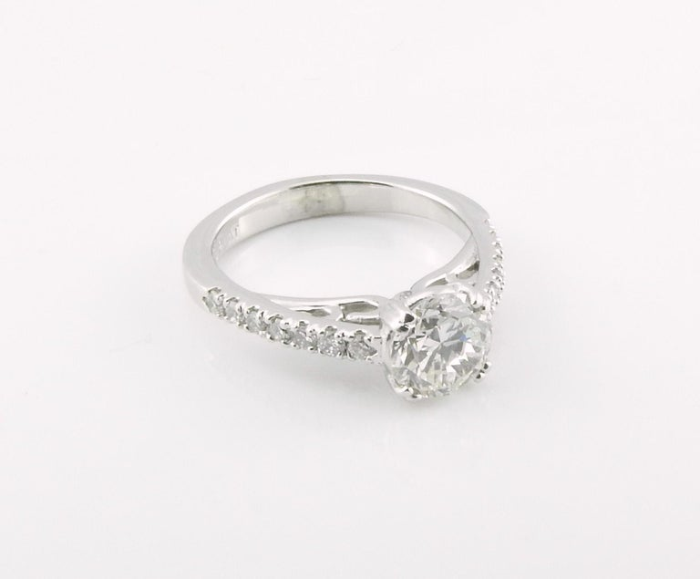 GIA Certified Platinum Diamond Engagement Ring For Sale 2