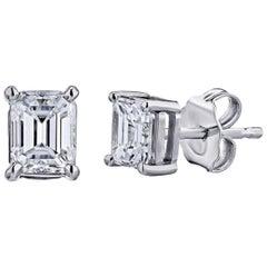 GIA Certified Platinum Emerald Cut Diamond Earring Studs 1/2 Carat Total