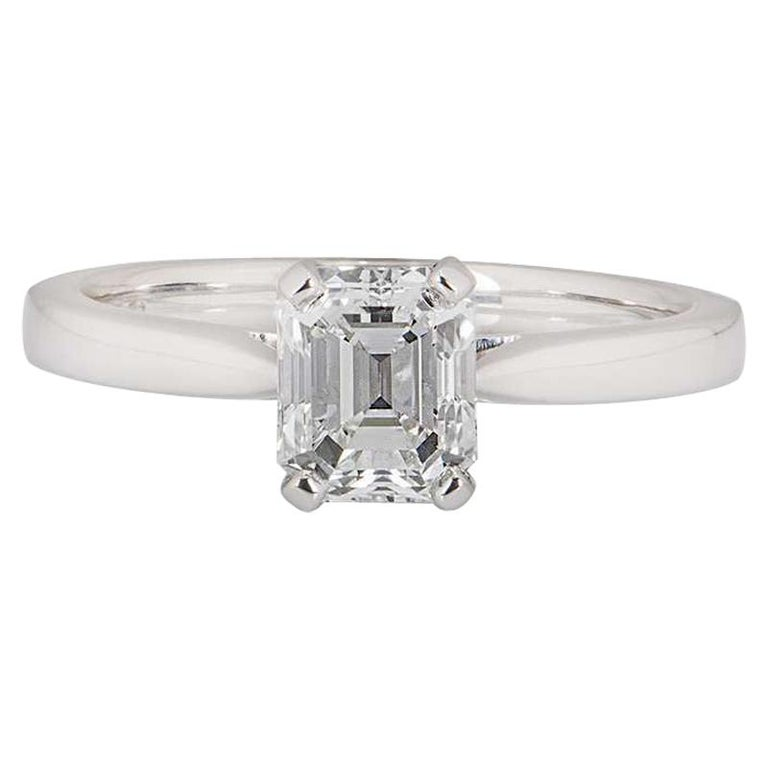 GIA Certified Platinum Emerald Cut Diamond Engagement Ring 1.18 Carat E/VVS1 For Sale