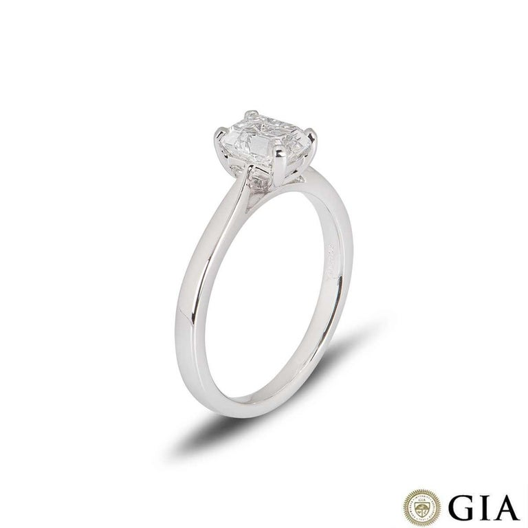 GIA Certified Platinum Emerald Cut Diamond Engagement Ring 1.18 Carat E/VVS1 In New Condition For Sale In London, GB