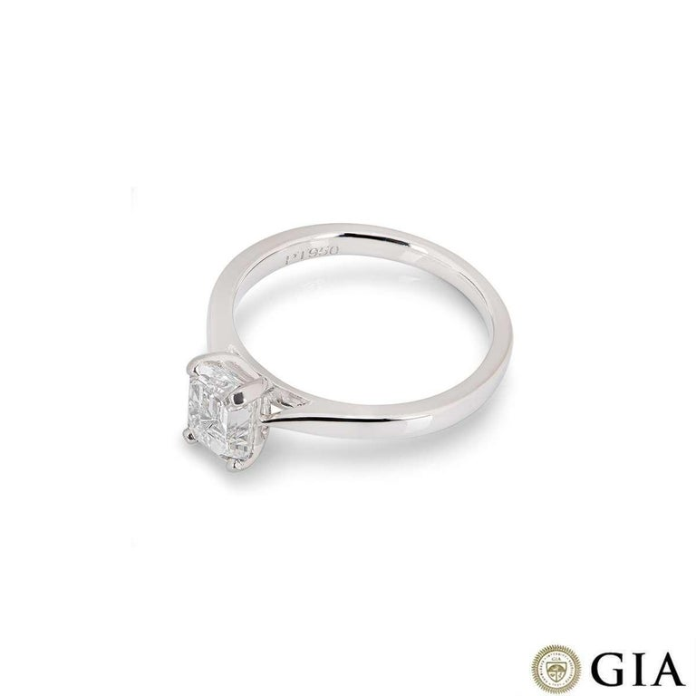Women's GIA Certified Platinum Emerald Cut Diamond Engagement Ring 1.18 Carat E/VVS1 For Sale