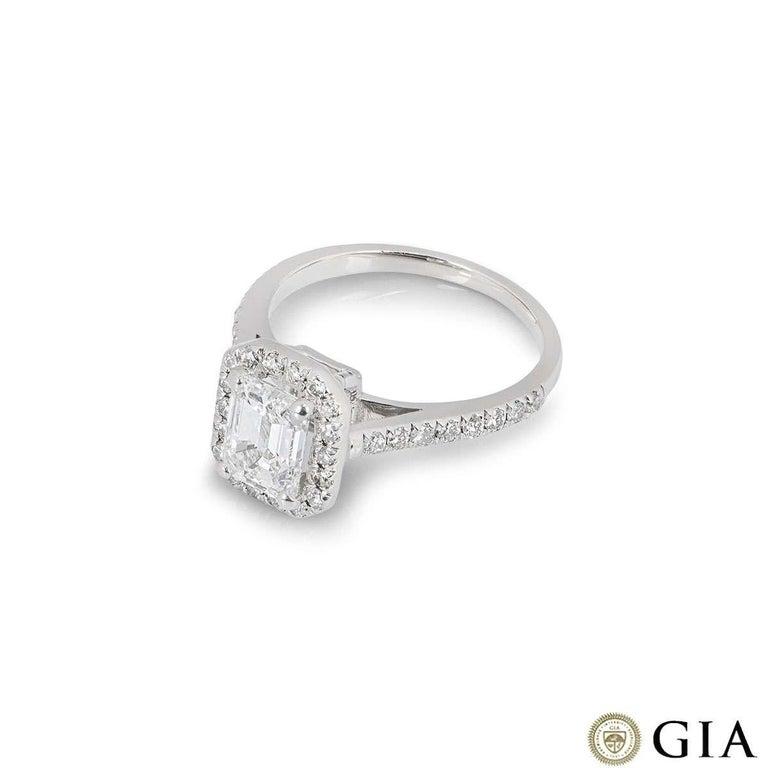 Women's GIA Certified Platinum Emerald Cut Diamond Engagement Ring 1.21 Carat D/VVS2 For Sale