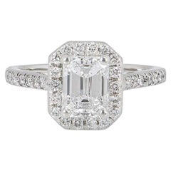 GIA Certified Platinum Emerald Cut Diamond Engagement Ring 1.21 Carat D/VVS2