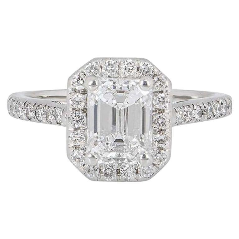 GIA Certified Platinum Emerald Cut Diamond Engagement Ring 1.21 Carat D/VVS2 For Sale