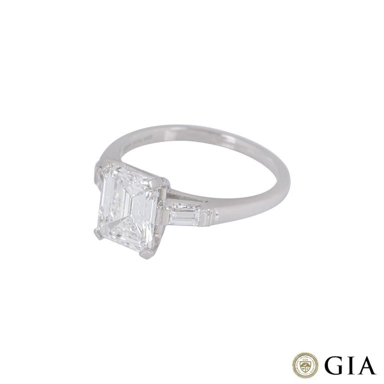 Women's GIA Certified Platinum Emerald Cut Diamond Engagement Ring 1.92 Carat F/VVS2 For Sale