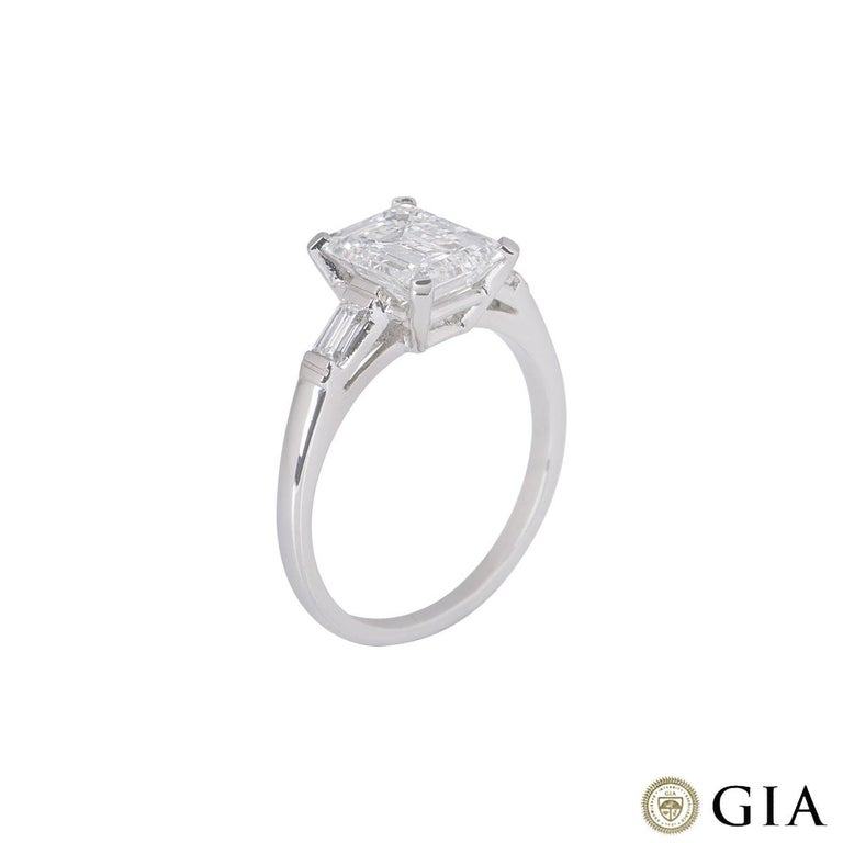 GIA Certified Platinum Emerald Cut Diamond Engagement Ring 1.92 Carat F/VVS2 For Sale 1