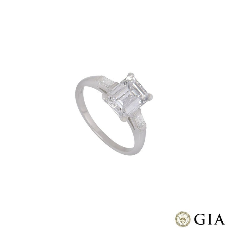 GIA Certified Platinum Emerald Cut Diamond Engagement Ring 1.92 Carat F/VVS2 For Sale 2