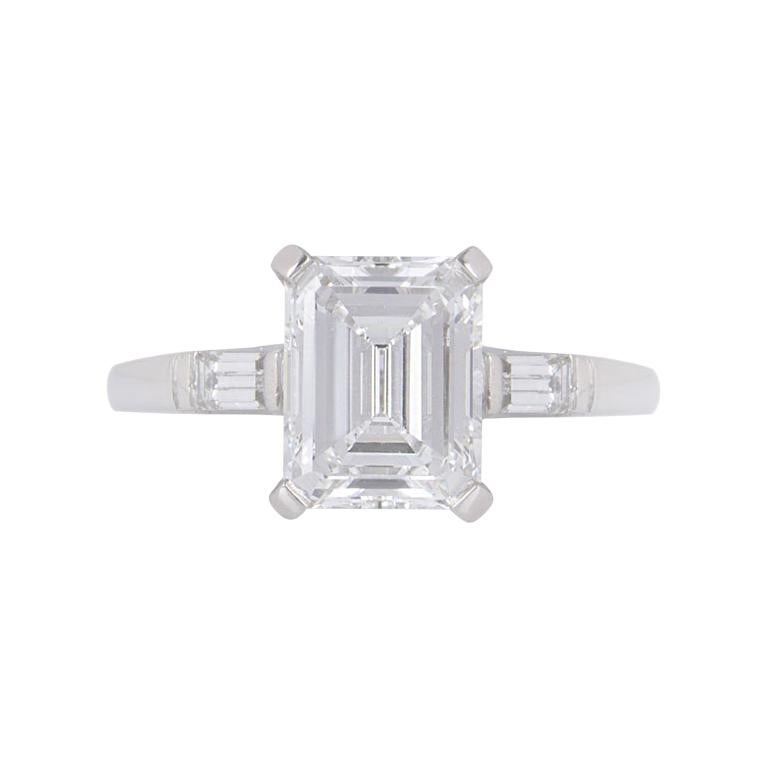 GIA Certified Platinum Emerald Cut Diamond Engagement Ring 1.92 Carat F/VVS2 For Sale
