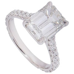 GIA Certified Platinum Emerald Cut Diamond Engagement Ring 3.02 Carat