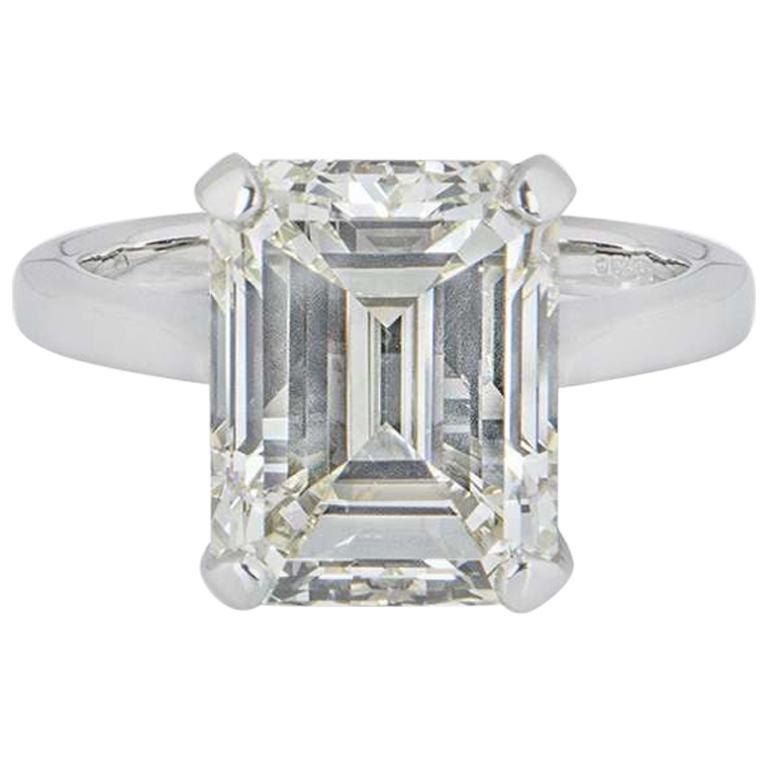 GIA Certified Platinum Emerald Cut Diamond Engagement Ring 8.02 Carat
