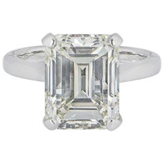 GIA Certified Platinum Emerald Cut Diamond Engagement Ring 8.02 Carat