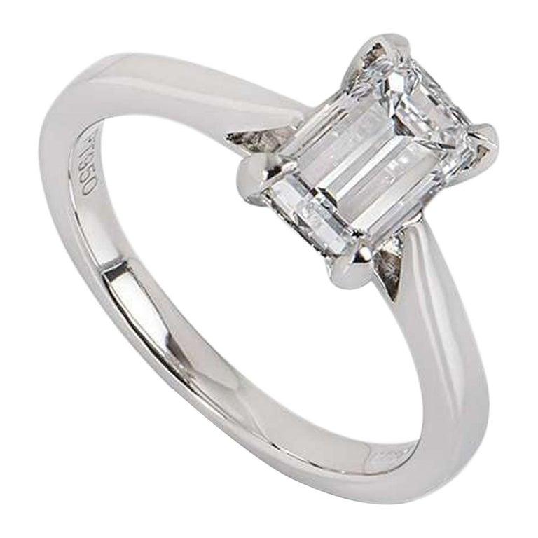 GIA Certified Platinum Emerald Cut Diamond Ring 1.50 Carat E/VVS2 For Sale