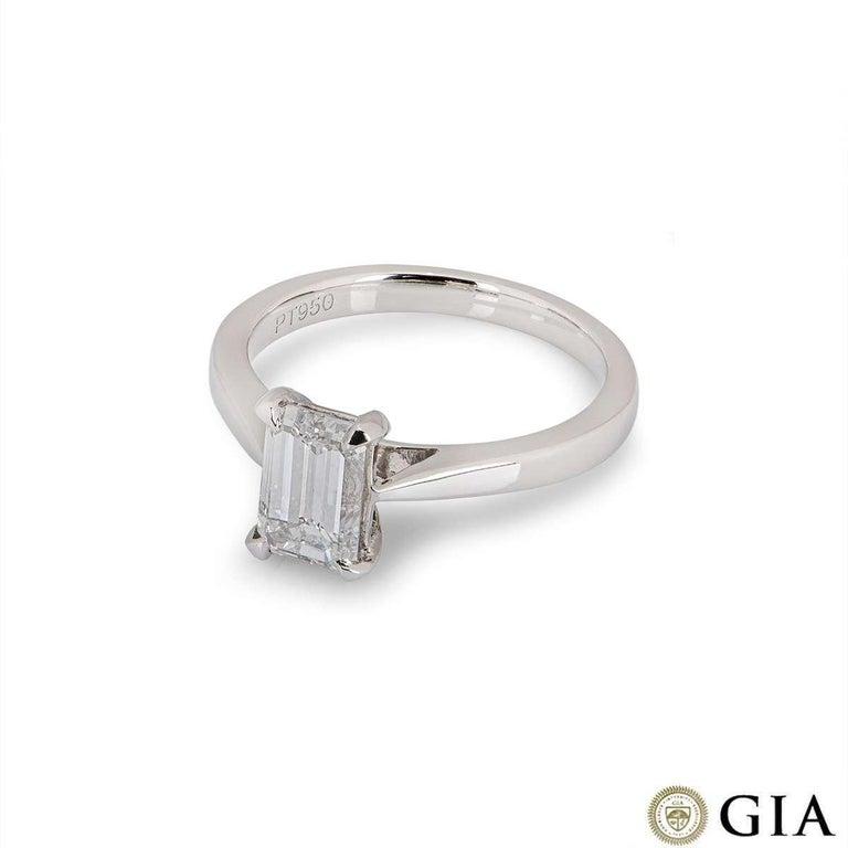 Women's GIA Certified Platinum Emerald Cut Diamond Ring 1.50 Carat E/VVS2 For Sale