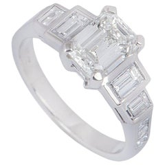 GIA Certified Platinum Emerald Cut Diamond Ring 1.52 Carat