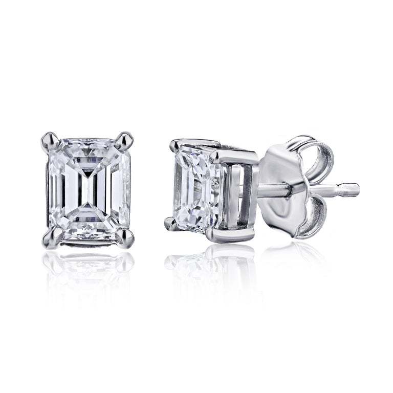 GIA Certified Platinum Emerald Cut Diamond Studs 0.75 Carat Total In New Condition For Sale In New York, NY