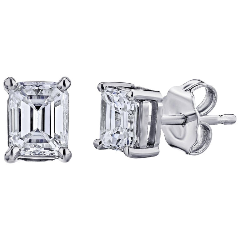 GIA Certified Platinum Emerald Cut Diamond Studs 0.75 Carat Total For Sale