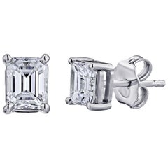 GIA Certified Platinum Emerald Cut Diamond Studs 1.00 Carat Total