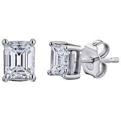GIA zertifizierte Platin Smaragdschliff Diamant Ohrstecker 1,00 Karat Gesamt