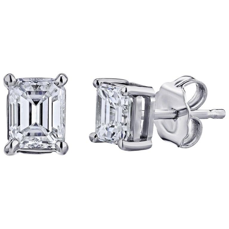 GIA Certified Platinum Emerald Cut Diamond Studs 1.00 Carat Total For Sale