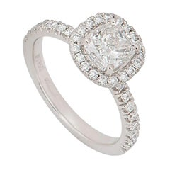 GIA Certified Platinum Halo Cushion Cut Diamond Engagement Ring 1.00 Carat
