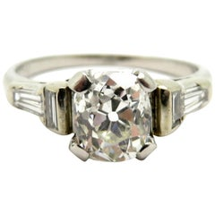 GIA Certified Platinum Old Mine Cut and Baguette Diamond Antique Engagement Ring