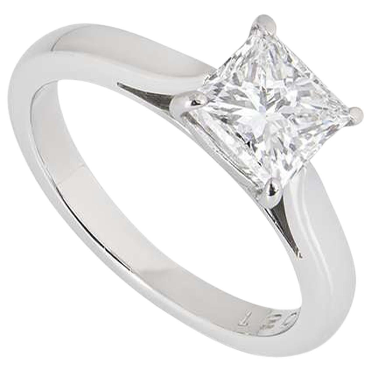 GIA Certified Platinum Princess Cut Diamond Engagement Ring 1.51 Carat F/VS2