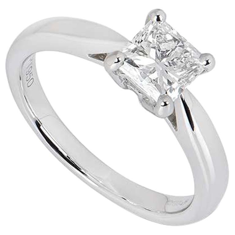 GIA Certified Platinum Princess Cut Diamond Ring 1.03 Carat