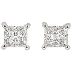 GIA Certified Platinum Princess Cut Diamond Stud Earrings 2.40 Total Carat
