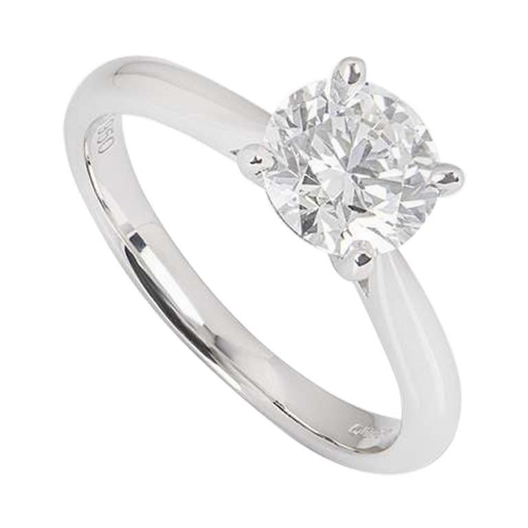 GIA Certified Platinum Round Brilliant Cut Diamond Engagement Ring 1.40 Ct G/VS1