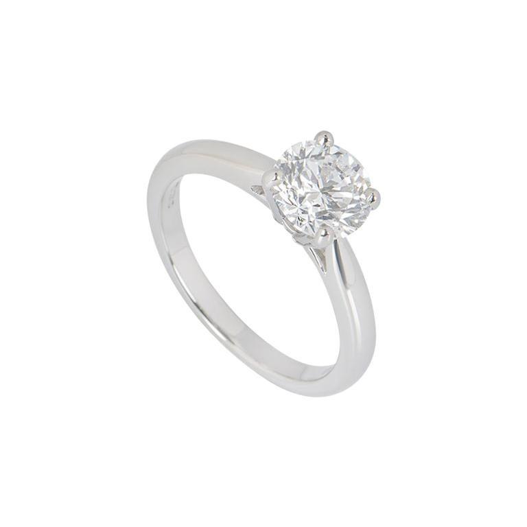 GIA Certified Platinum Round Brilliant Cut Diamond Engagement Ring 1.51 Carat