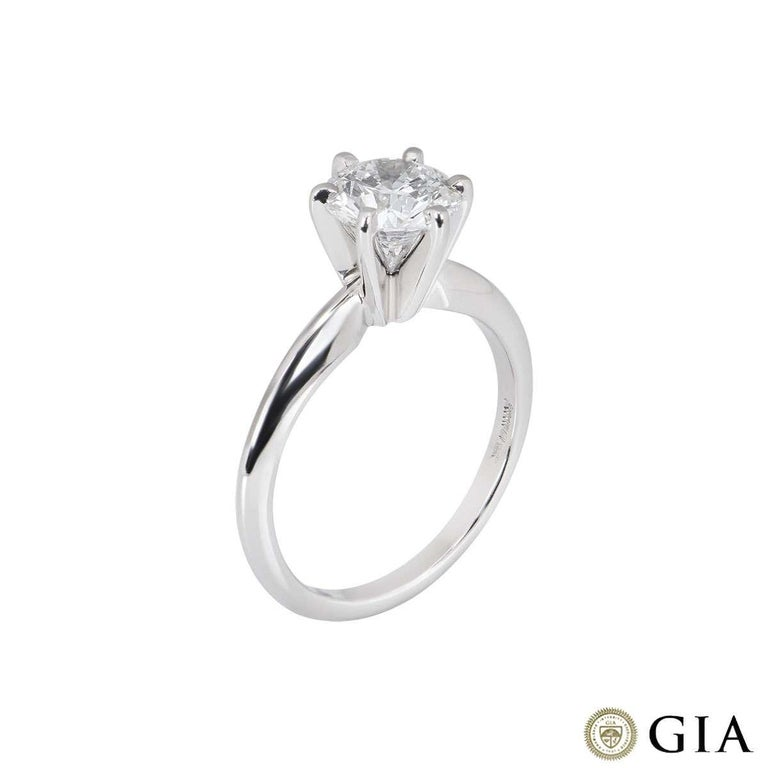 A stunning round brilliant cut diamond ring in platinum. The diamond is set within a classic 6 claw setting and weighs 1.15ct, is D colour and VVS2 in clarity. The diamond scores an excellent rating in all three aspects for cut, polish and symmetry