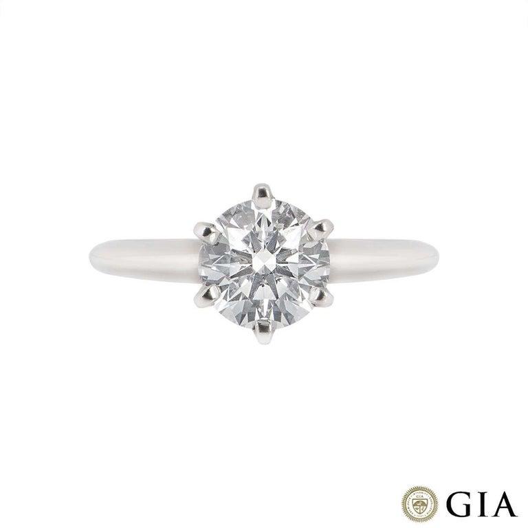 Round Cut GIA Cert Platinum Round Brilliant Cut Diamond Engagement Ring 1.15 Carat D/VVS2 For Sale