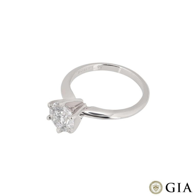 GIA Cert Platinum Round Brilliant Cut Diamond Engagement Ring 1.15 Carat D/VVS2 In Excellent Condition For Sale In London, GB