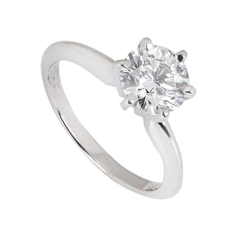 GIA Cert Platinum Round Brilliant Cut Diamond Engagement Ring 1.15 Carat D/VVS2 For Sale