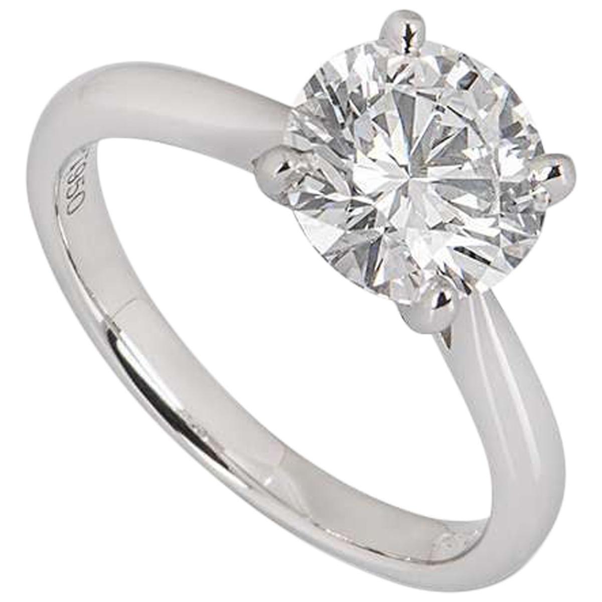 GIA Certified Platinum Round Brilliant Cut Diamond Ring 2.03 Carat E/VS2