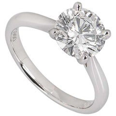 GIA Certified Platinum Round Brilliant Cut Diamond Ring 2.03 Carat E/VS2