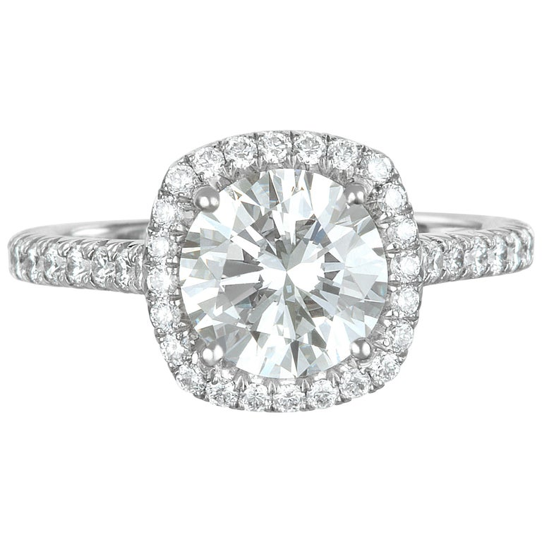 GIA Certified Platinum Round Diamond Engagement Ring with Micro Pavé Halo For Sale