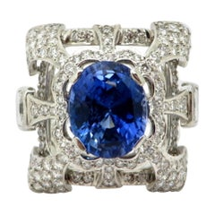 GIA Certified Platinum Sapphire and Diamond Fashion Statement Ring