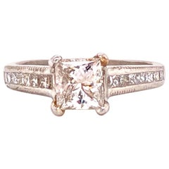 GIA Certified Princess Cut Diamond Engagement Ring Platinum