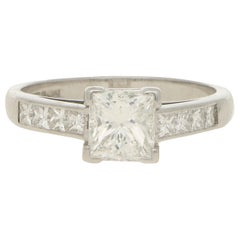 GIA Certified Princess Cut Diamond Engagement Ring Set in Platinum