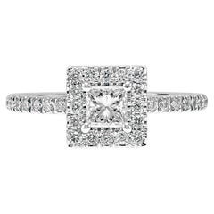 GIA Certified Princess Cut Diamond Halo White Gold Bridal Engagement Ring