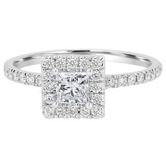 GIA Certified Princess Cut Diamond Halo White Gold Engagement Bridal Ring
