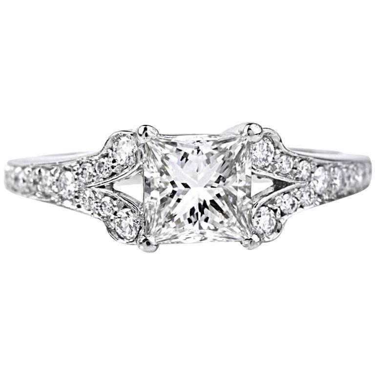 GIA Certified Princess-Cut Diamond Platinum Engagement Ring