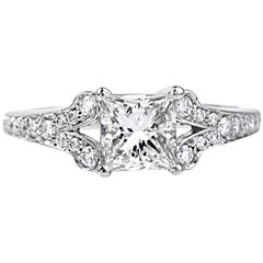 GIA Certified Princess-Cut Diamond Platinum Engagement Ring